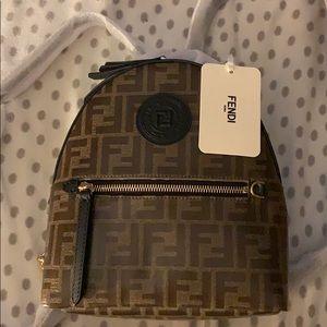 Fendi mini leather logo back pack